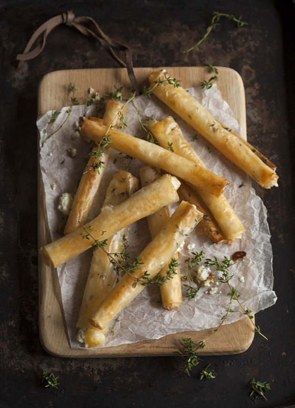 http://drizzleanddip.com/2014/06/04/baked-goats-cheese-cigars-with-honey-and-thyme