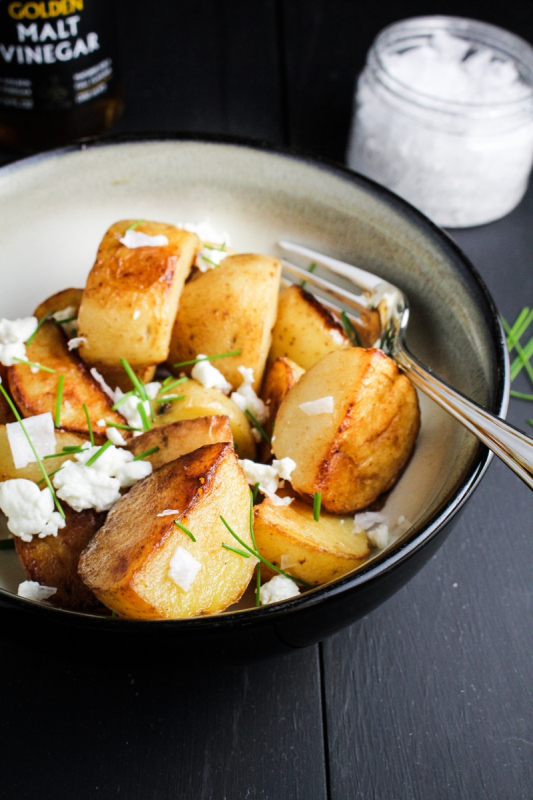 http://katieatthekitchendoor.com/2014/05/27/crispy-sea-salt-and-vinegar-potatoes-with-goat-cheese-and-chives/
