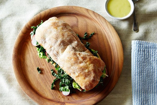 http://food52.com/recipes/29744-avocado-and-marinated-kale-salad-sandwich