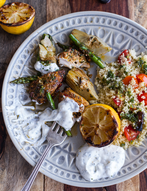 http://www.halfbakedharvest.com/spring-veggie-lemon-moroccan-chicken-skewers-minted-goat-cheese-yogurt/