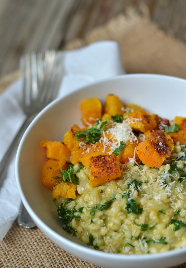 http://www.mountainmamacooks.com/2014/09/barley-risotto-kale-butternut-squash/