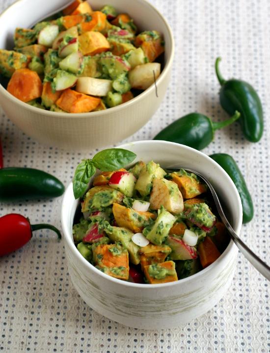 http://www.rickiheller.com/2012/09/roasted-potato-salad-with-avocado-pesto/